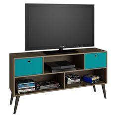 Modern Classic Mid-Century TV Stand Entertainment Center in Oak Aqua Grey Wood Finish