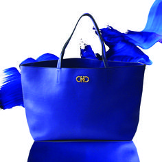 f628db7ec13 Salvatore Ferragamo Bice tote in royal blue. A practical medium sized purse  for any occasion or outfit.