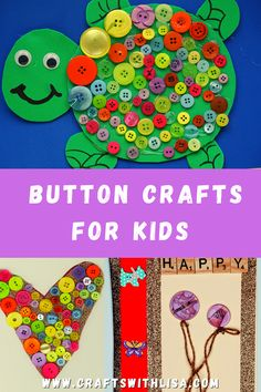 Crafts with buttons are a wonderful way to get your kids creative. With a little glue and buttons, your children will be able to get very creative! Button Crafts For Kids, Fun Crafts For Kids, Diy For Kids, Cool Kids, Arts And Crafts, Fun Activities For Kids, Craft Activities, Creative Kids, Lisa