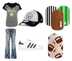 """Steelers' game outfit"" by ariel-jolley-croteau on Polyvore featuring 5th & Ocean, American Eagle Outfitters, adidas Originals, New Era, nails, nailart and nailpolish"