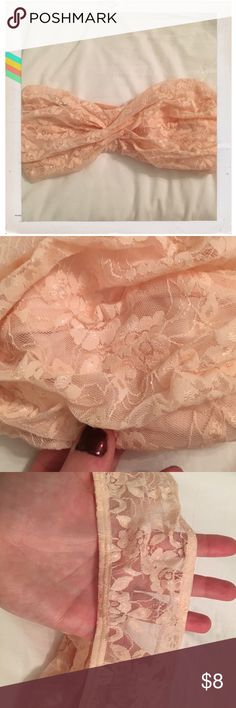 Express Blush Lace Bandeau Hardly worn! Blush colored lace bandeau from express with twisted front and sheer Lace back. Open to offers! Express Intimates & Sleepwear Bandeaus