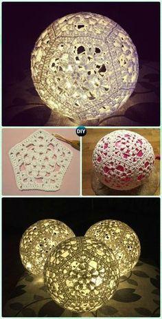 Crochet Light Ball Lamp Shade Free Pattern – Crochet Lamp Shade Free Patterns … – Knitting And Crochet Crochet Ball, Thread Crochet, Crochet Motif, Crochet Doilies, Free Crochet, Knit Crochet, Crochet Patterns, Crochet Coaster, Doily Patterns