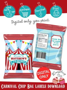 DIGITAL DOWNLOAD Carnival Birthday Chip Bag Labels Digital Printable