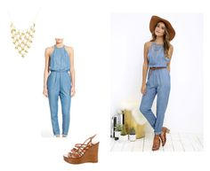"""""""Jeans jumpsuit"""" by elena-cigarini ❤ liked on Polyvore featuring RVCA, Yves Saint Laurent, Summer, casual, outfit, hat and jeans"""