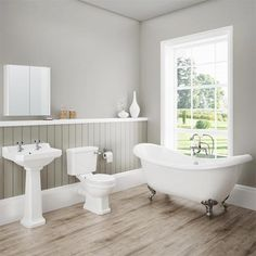 Discover the beautiful lines of our Darwin Traditional Bathroom Suite. Features a toilet, basin and gorgeous freestanding bath. Now at Victorian Plumbing. Bad Inspiration, Bathroom Inspiration, Bathroom Interior Design, Bathroom Styling, Bathroom Designs, Grey Bathrooms, Modern Bathroom, Cottage Bathrooms, Country Bathrooms