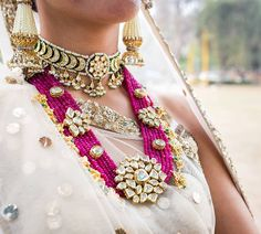 VeroniQ Trends-Royal Rani Haar Necklace Set in Faux Ruby Stones and Kundan Work in high gold Platin Royal Jewelry, India Jewelry, Gold Jewelry, Jewelry Box, Jewelry Sketch, Quartz Jewelry, Jewelry Stand, Jewelry Armoire, High Jewelry