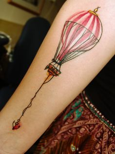 Hot Air Balloon and anchor watercolor tattoo - Mara Koekoek.  Not usually into these kind of tats, but this is awesome.