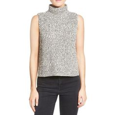 Madewell 'Veranda' Sleeveless Sweater ($78) ❤ liked on Polyvore featuring tops, sweaters, marled ink, sleeveless turtleneck sweater, sweater pullover, sleeveless turtleneck tops, sleeveless tops and white top