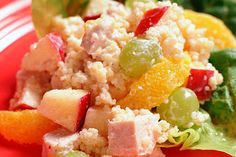 Couscous Salad with Chicken and Fruit.Tender bite-size pieces of chicken breast and fruit add savory and sweet to this tasty couscous salad. Mexican Salad Recipes, Side Salad Recipes, Bean Salad Recipes, Couscous Recipes, Couscous Salad, Fruit Recipes, Dinner Recipes, Tomato Pasta Salad, Broccoli Cauliflower Salad