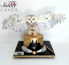 Harry Potter themed cake : gravity defying landing Hedwige owl by Sweet Creations Cakes