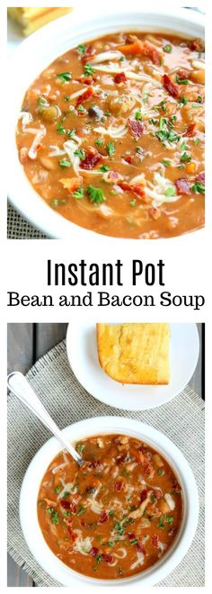 Instant Pot Bean and Bacon Soup–dried beans are cooked quickly in your electric pressure cooker along with carrots, celery, garlic and bacon. A simple but seriously delicious soup that will leave you wanting seconds (and the leftovers the next day are even better than the first day).