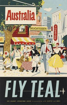 Australia - FLY TEAL (circa 1950) vintage travel poster: