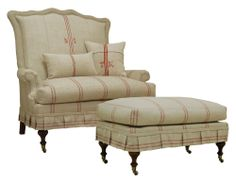 Jeffrey Zimmerman Furniture | The Jeff Zimmerman Collection Lambert Tight Back Settee w Ottoman (kcf ...