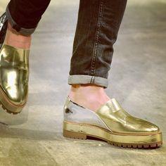 @sonjungwan golden loafer on the #FW14 runway #MBFW #NYC via @Mercedes-Benz Fashion Week