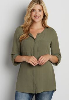 the perfect tunic blouse with button tab shoulders in olive green (original price, $34.00) available at #Maurices