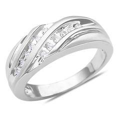 Ebay NissoniJewelry presents - Men's 1/4CTTE Diamond Wedding Band in 10k White Gold    Model Number:GRV0334E-W077    http://www.ebay.com/itm/Men-s-1-4CTTE-Diamond-Wedding-Band-in-10k-White-Gold/321612110946