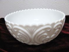 "Vintage Imperial Challinor Taylor Milk Glass Embossed SCROLL Pattern 8.25"" Bowl  #Imperial"
