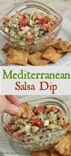 This Easy Fresh Mediterranean Salsa Dip is filled with veggies and so delicious! Serve it with pita chips or as a side to grilled chicken or seafood. Recipe at MealPlanningMagic. com
