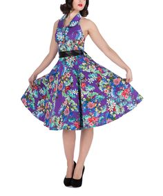 Look what I found on #zulily! HEARTS & ROSES LONDON Purple & Blue Floral Regina Dress by HEARTS & ROSES LONDON #zulilyfinds