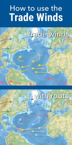 How to use the trade winds with your Atlantic Crossing. A dream trip, that will . - How to use the trade winds with your Atlantic Crossing. A dream trip, that will bring some peace. Sailing Basics, Sailing Lessons, Sailing Catamaran, Sailing Trips, Ocean Sailing, Liveaboard Sailboat, Boat Navigation, Sailboat Living, Trade Wind