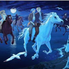 Detail from a Lord of Shadows poster to be given out at BookCon 2017 -- this bit features Mark and Kieran and several other characters with the horses of the Wild Hunt. Art by Alice Duke. | TDA Shadowhunters | Lord of Shadows