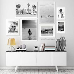 Gallery wall with woman surfboard Lifeguard Love Palm trees Hollywood Venice Beach photography set