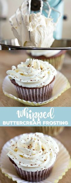 Whipped Buttercream Frosting is the best frosting ever! It has the rich creaminess of a buttercream & the light, airy texture of a whipped cream frosting!