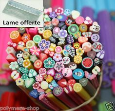 lot de 50 cane fimo ongle deco polymere  canes  cannes + LAME OFFERTE