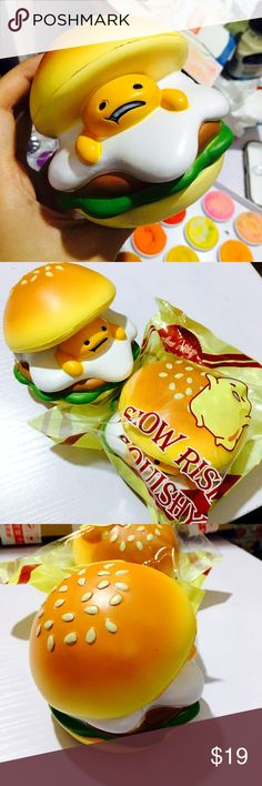KAWAII JUMBO SLOW RISE GUDETAMA BURGER SQUISHY EGG Sweet scented LIMITED EDITION LICENSED + RARE!?Bag is sealed. Super cute gudetama egg character in a burger. ADORABLE PACKAGING! Super slow rising?(over 7 seconds to rise), ?color and paint very detailed! Comes with original plastic packaging and sealed (note package is not resealable once open). ? Squishy shows no defects! Squishy has never been squished outside of packaging!! Brand New. Accessories
