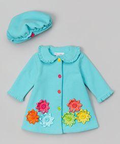 Look at this #zulilyfind! Turquoise Flower Hat & Coat - Infant, Toddler & Girls by Gerson & Gerson #zulilyfinds