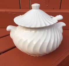 Ceramic White Soup Tureen Made in Japan, Vintage Ribbed White with Ladle Spoon  | eBay