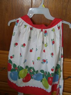 Vintage Christmas Apron, Ornaments, Red Christmas Balls, Holly Leaves, Cute by TeresasTreasuresEtc on Etsy