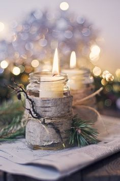 Bark of birch tree on a glass container - candles - winter/wood weddings