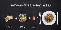 Zum Mitnehmen bitte: 3 + 10 = Gemüse-Maultaschen mit Ei