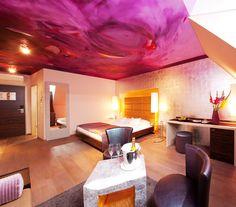 Hotel Der Wilhelmshof - The only artistically designed hotel in Vienna combines Viennese charm, personal care, high q Vienna Hotel, Hotels, Austria, Design Art, Personal Care, Ceiling Lights, Artist, Purple, Poetry