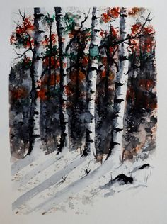 Original Watercolor Painting A Painted Forest by pinetreeart, $55.00