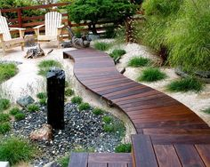 WOOD WALKWAY OVER RIVER STONE DRAINAGE - Google Search