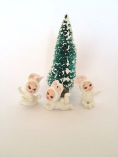 3 Snowbaby Bunnies Cute Mini Snow Baby Snow by trailsofthewest