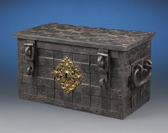 Antique Chest, Iron Strong Box, German Antique Boxes, Armada Box ~ M.S. Rau Antiques