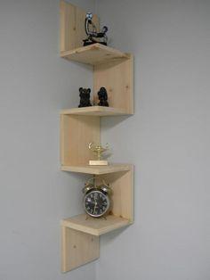 Wall mounted corner shelf Retro 4 tier zig zag shelf for bathroom shelf or any other room.