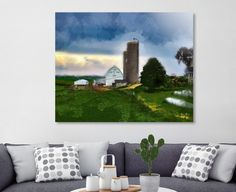 Scenic watercolor of a family farm out in the country. Neat and trim outbuildings of barn, silos, out buildings, house, fields, trees crops