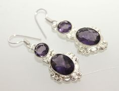 AMETHYST QUARTZ FOR HER BEAUTIFUL STERLING SILVER FASHION JEWELRY EARRING S849 #925silverpalace #DropDangle