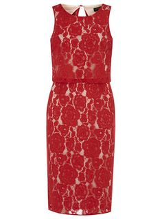 Red lace double layer pencil dress