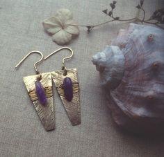 sylvie • amethyst earrings - hammered brass earrings - bohemian earrings - etched earrings - witch jewelry - amethyst dangle earrings by gorimbaud on Etsy https://www.etsy.com/listing/265514272/sylvie-amethyst-earrings-hammered-brass