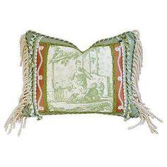 Brunschwig & Fils Green Chinoiserie Pillow