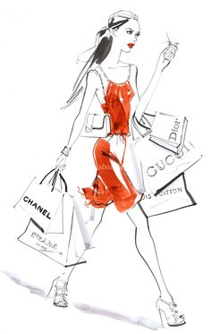 Now Thats What I Call A Shopping Spree.. Illustration By Jacqueline Bissett..