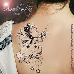 """Bonsoir à tous! C'est une commande de dessin de tattoo version """"cute"""" que je partage avec vous ce soir <3 Un adorable petit Ange avec un si joli prénom <3 Si vous aimez mon univers et que vous souhaitez m'aider à le faire connaitre n'hésitez pas à le faire voyager de vos partages, pour un brin de féerie! Merci à vous pour votre précieux soutien <3 . Des bisous. --------------------------------------------------- Maud Lamoine © Tous droits réservés. Portrait, aquarelle personnalisée, logo… Ink Tattoo, Tattoos Skull, Feather Tattoos, Body Art Tattoos, New Tattoos, Small Tattoos, Band Tattoos, Ribbon Tattoos, Tattoos With Kids Names"""
