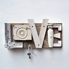 typography love architectural salvage sign letters L O V E ORIGINAL ART by Elizabeth Rosen. Inspiration only. Wood Projects, Craft Projects, Craft Ideas, Wood Crafts, Diy Crafts, Typography Love, Typography Letters, Sign Letters, Wood Letters