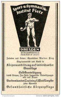 Werbung - Original-Werbung/Inserat/ Anzeige 1927 - SPORT-UND GYMNASTIKINSTITUT FIETZ DRESDEN - ca. 70 x 100 mm