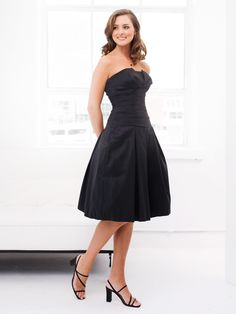 Gorgeous strapless dropped waist taffeta bridesmaid dress